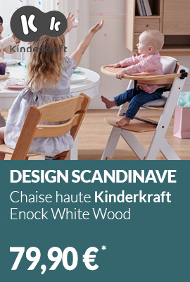 Chaise haute Kinderkraft Enock White Wood