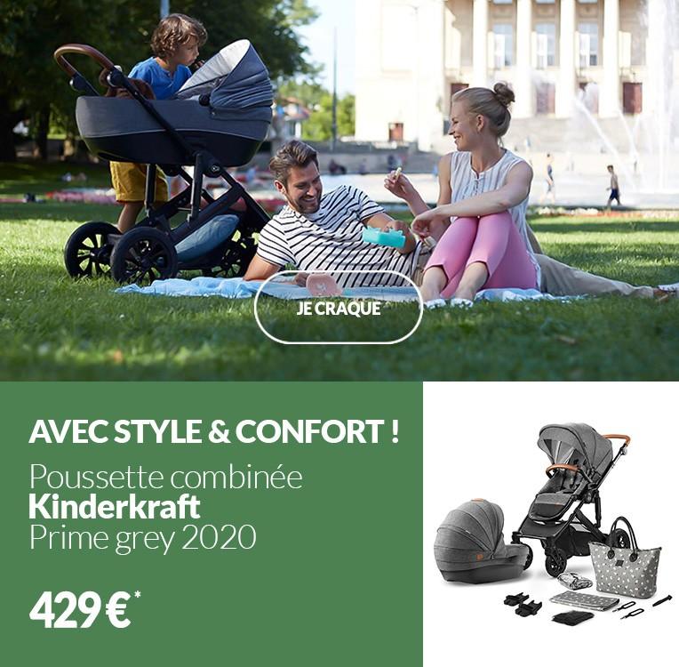 Poussette combinée Kinderkraft Prime grey 2020